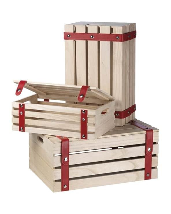 Coffret bois fermeture pression rouge GM