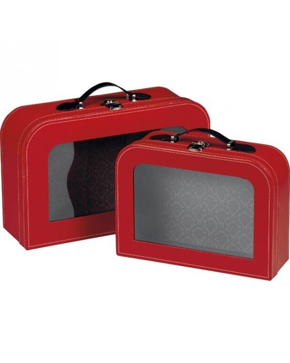 Valise rouge avec fenêtre
