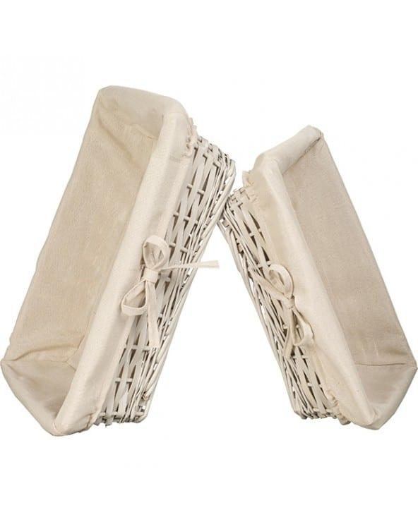 Corbeille en osier tissu blanc et beige