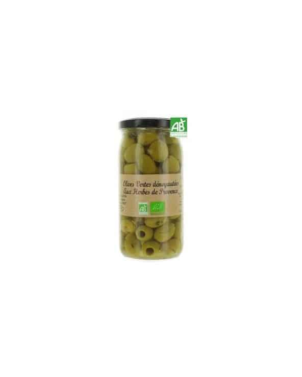 Olives vertes dénoyautées aux herbes de Provence Bio 340g