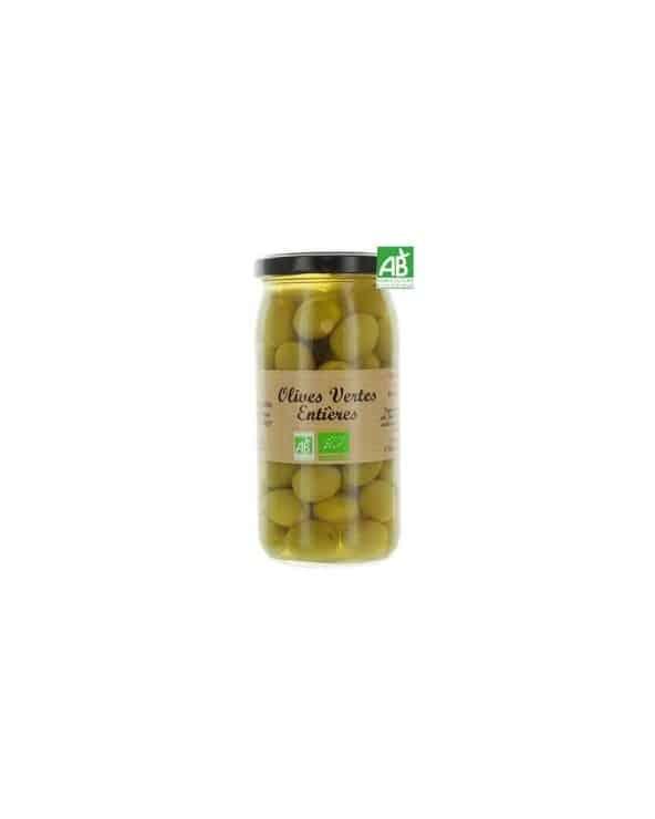 Olives vertes entières, Bio, 340g
