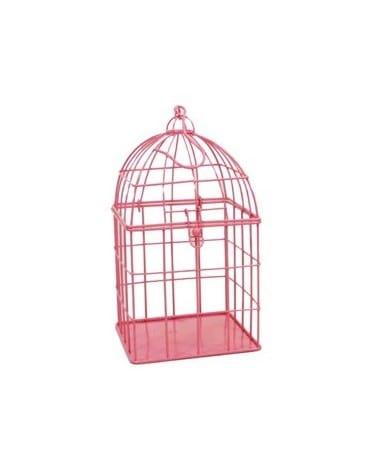 Cage à oiseaux métal rose