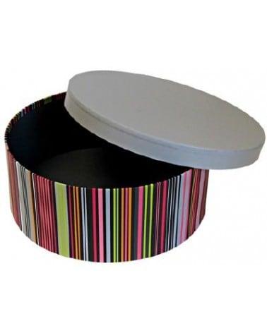 Boîte ronde à rayures colorées couvercle gris modèle moyen