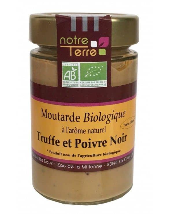 Moutarde saveur truffe et poivre noir bio, 180g