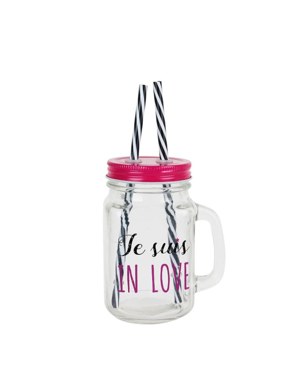 Mason jar Je suis in Love avec deux pailles