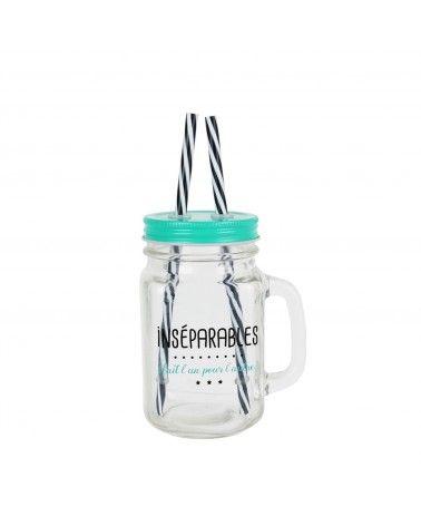 Mason jar Inséparables avec deux pailles