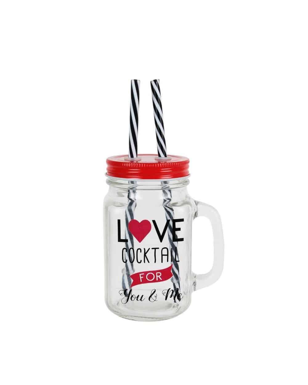 Mason jar Love Cocktail avec deux pailles