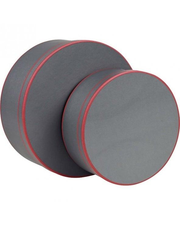 Coffret rond gris et motifs rouges grand modèle