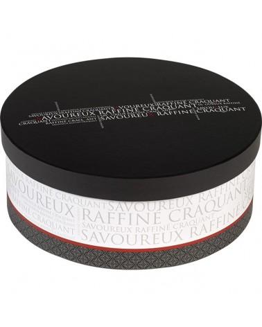 Boîte ronde Savoureux gris blanc rouge