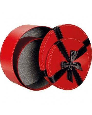 Boîte ronde rouge noeud en satin noir PM