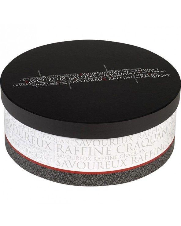 Boîte ronde Savoureux gris blanc rouge petit modèle