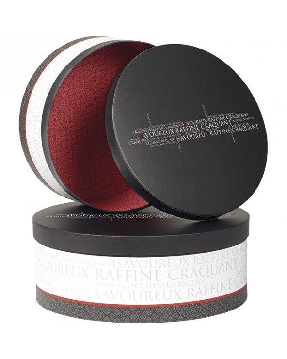 Boîte ronde PM Savoureux gris blanc rouge petit modèle