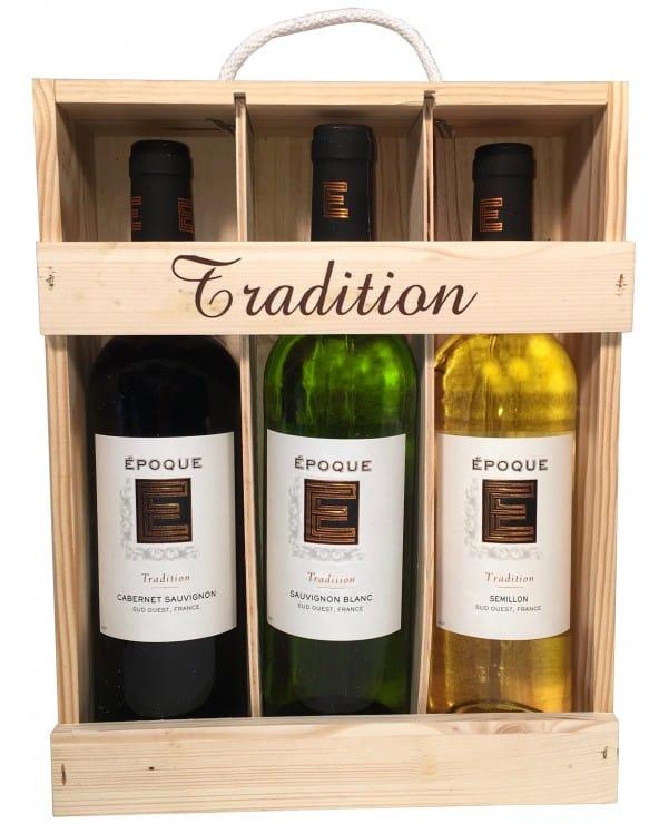 Coffret en Bois Tradition 3 bouteilles