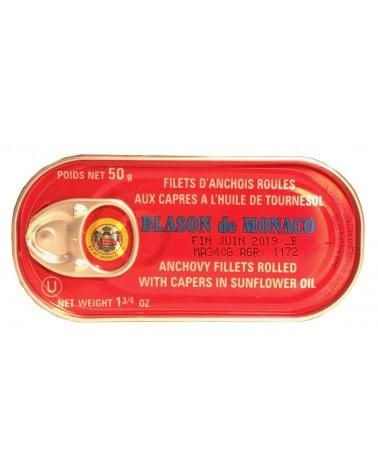 Filets d'Anchois Roulés aux Câpres à l'Huile de Tournesol