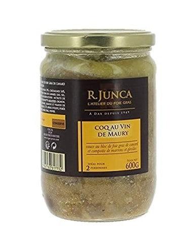 Coq au vin de Maury sauce foie gras de canard et compotée de marron et girolles 600g