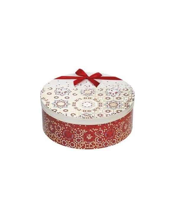 Boîte ronde Bonnes Fêtes rouge or crème grand modèle
