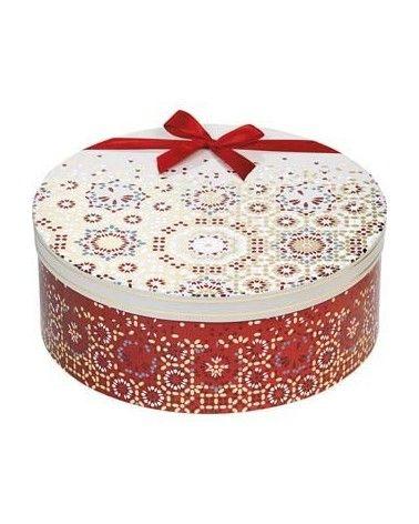 Boîte ronde Bonnes Fêtes rouge or crème