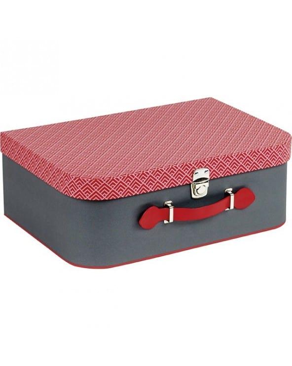 Valise rectangle grise et motifs rouges MM