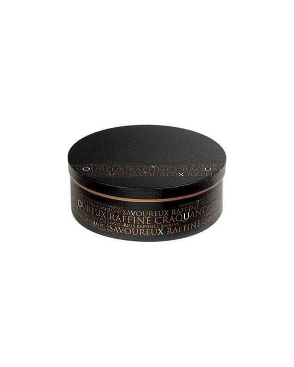Boîte ronde noire décor Savoureux PM