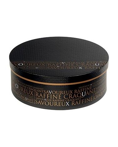 Boîte ronde noire décor Savoureux GM