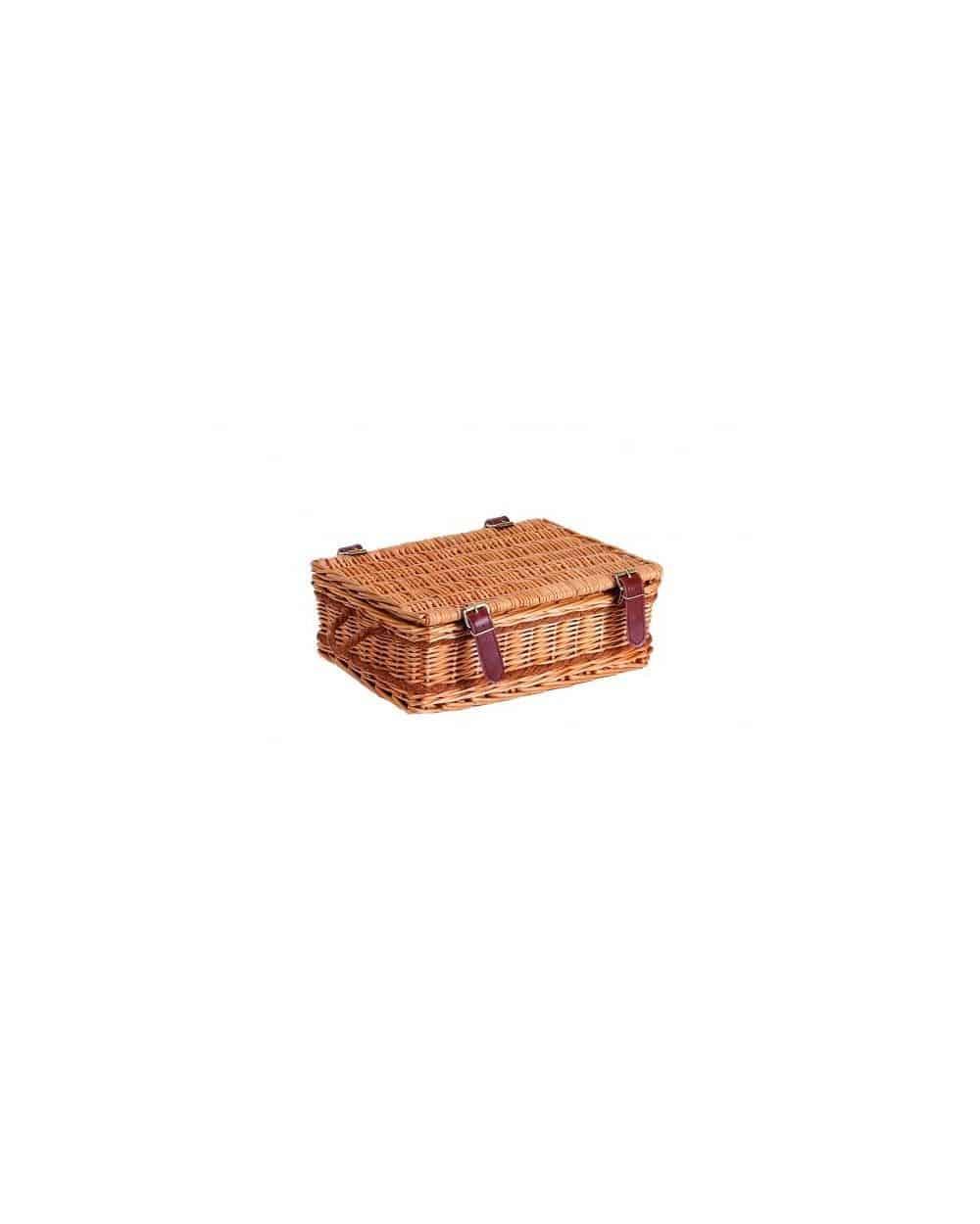 Coffret Rectangle bois/osier Tissu Beige