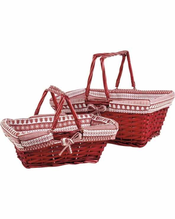 Panier osier/bois rectangle rouge tissu motifs blanc/rouge anses rabattables