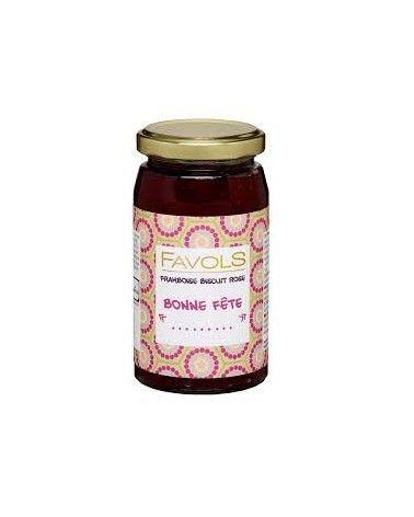 Confiture Bonne Fête framboise biscuit rose 260g
