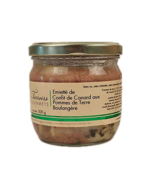 Emietté de confit de canard aux pommes de terre boulangère 300g
