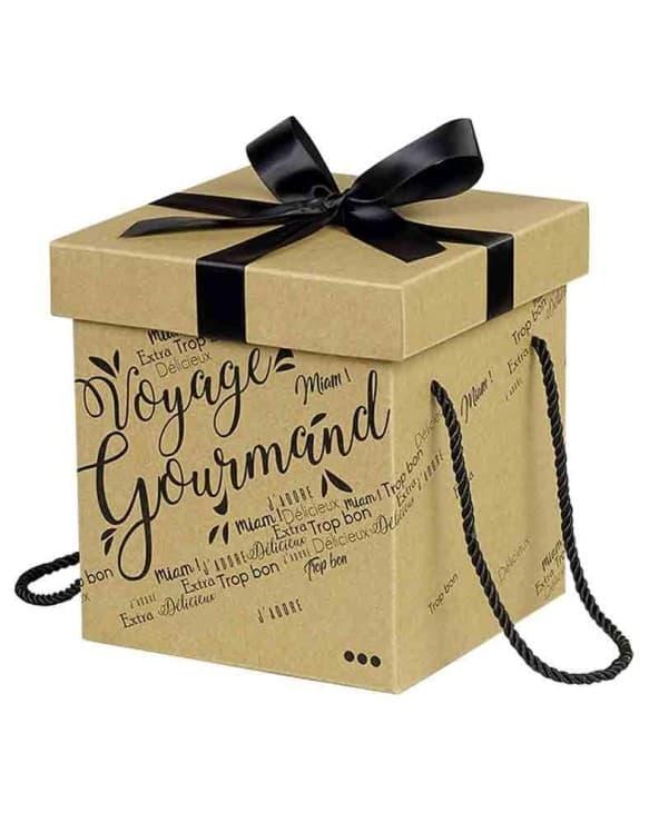 Coffret carton Voyage Gourmand noeud satin/cordelettes coloris noir
