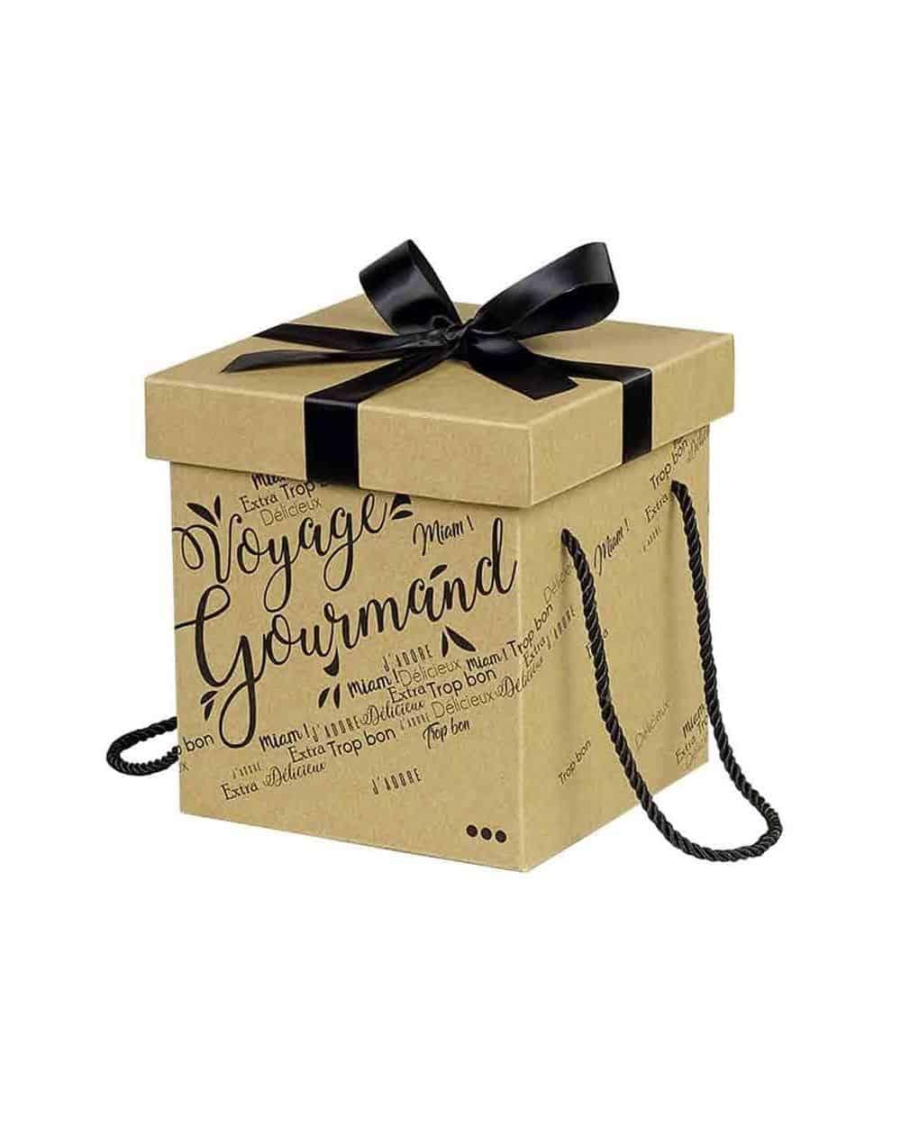 Coffret carton kraft carré Voyage Gourmand noir noeud satin/cordelettes coloris noir