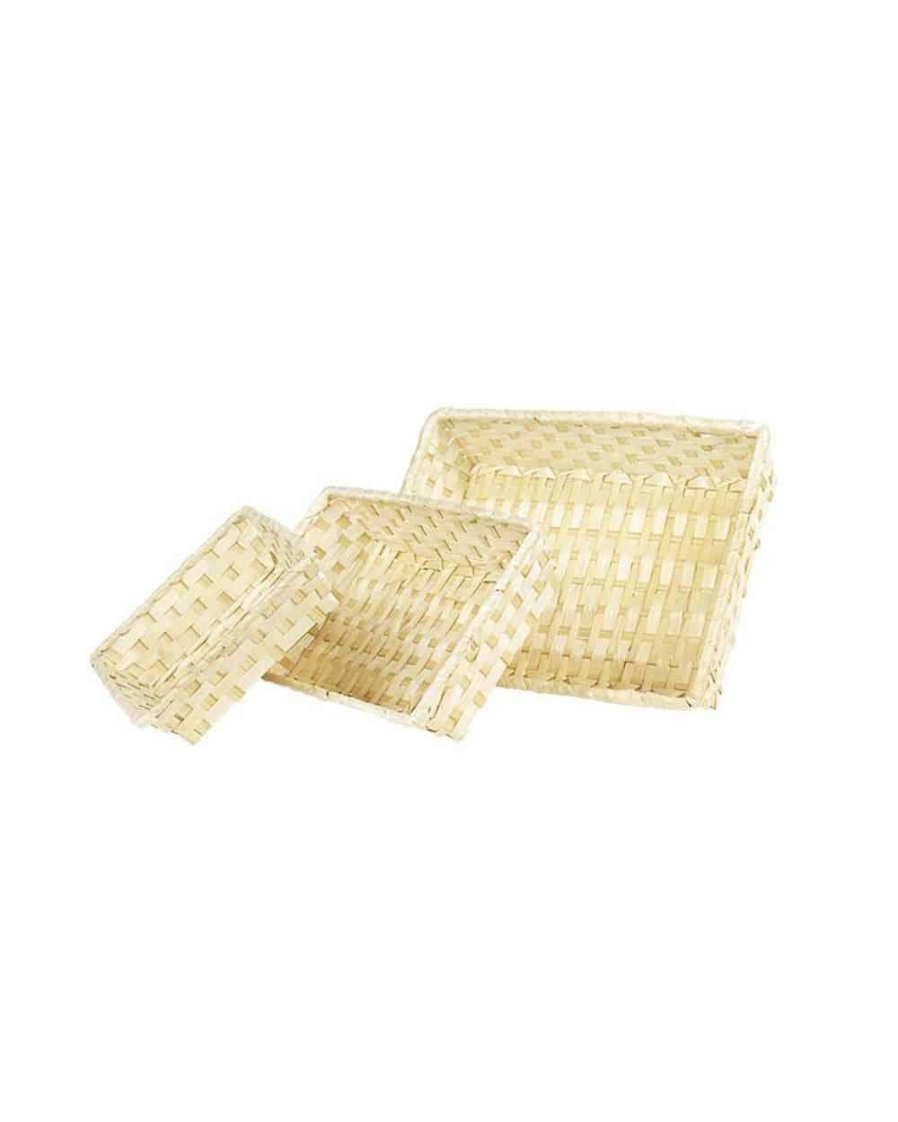 Corbeille bambou rectangle en osier beige GM