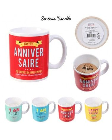 Bougie parfumée mug anniversaire