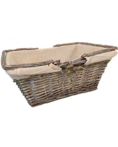 Panier en osier tissus beige et liseré feuilles anses rabattables