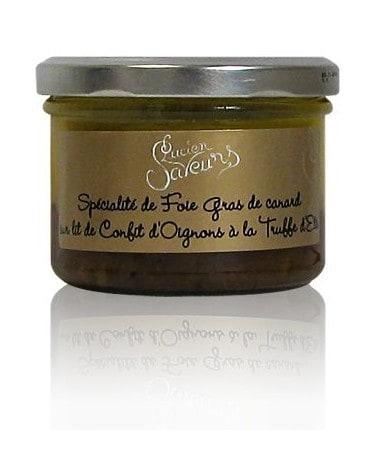Spécialité de foie gras de canard sur lit de confit d'oignons à la truffe d'été 180g