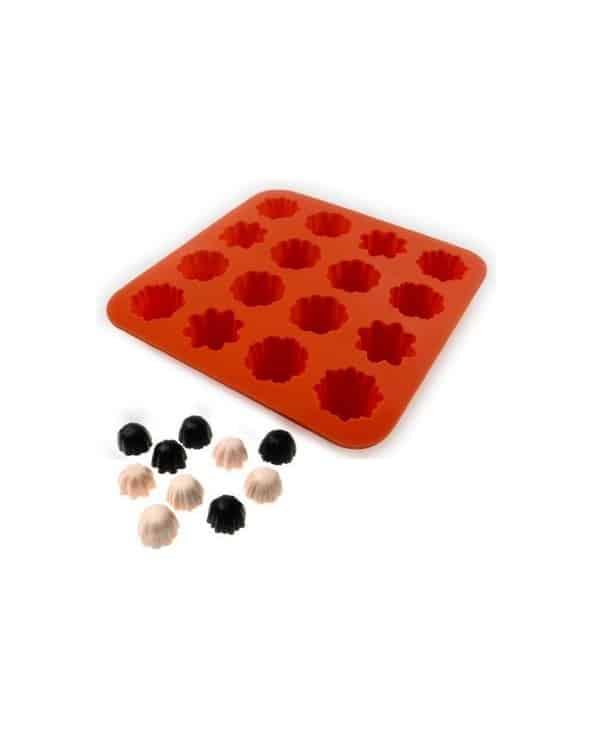 Moule souple orange pour faire des chocolats ou des glaçons