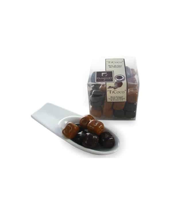 """Cube """"Ti-coco"""" noix de coco enrobé de chocolat noir 100g"""