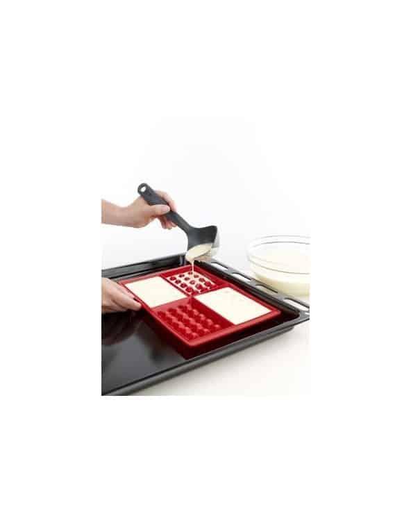 2 Moules en silicone pour gaufres rouge Lékué