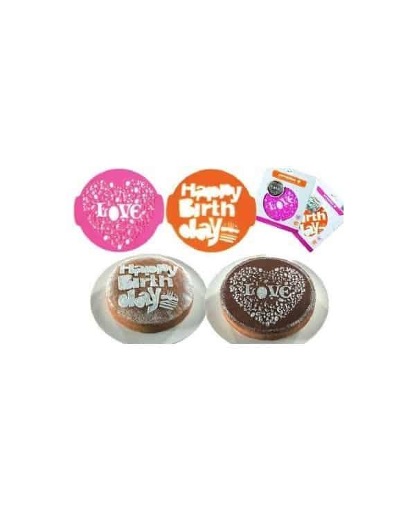 2 pochoirs décoratifs à gâteaux