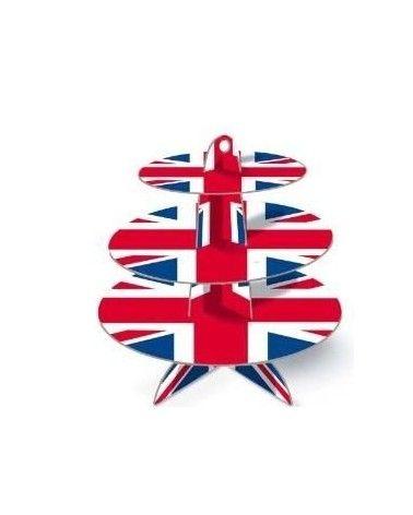 Présentoir à cupcakes 3 niveaux drapeau britannique