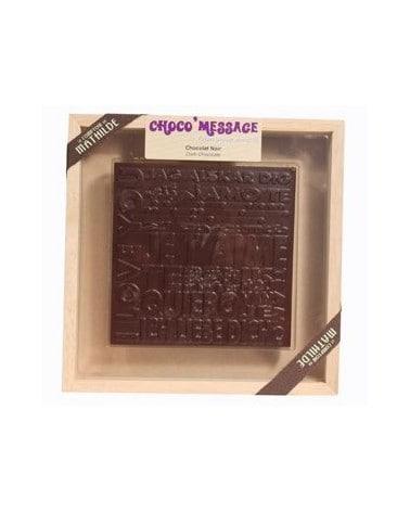 """Coffret Plaque de Chocolat noir """"Je t'aime"""" 200g"""