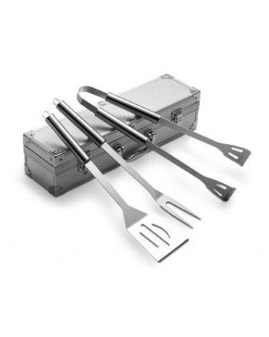 Coffret barbecue avec 3 ustensiles en acier