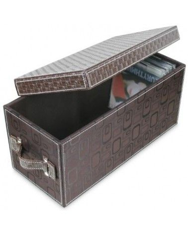 Coffret pour CD façon cuir brun sellier et imprimé mode 70's