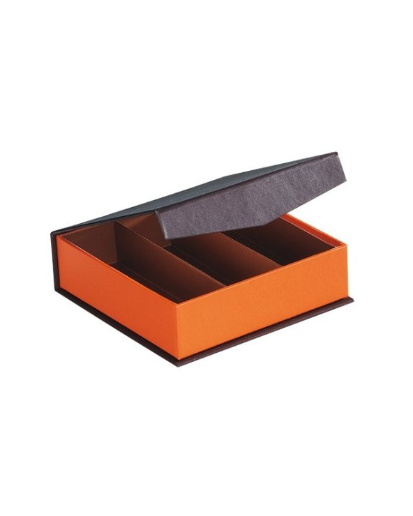 Coffret carton carré coloris marron/orange