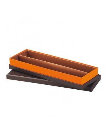 Coffret carton rectangle coloris marron/orange