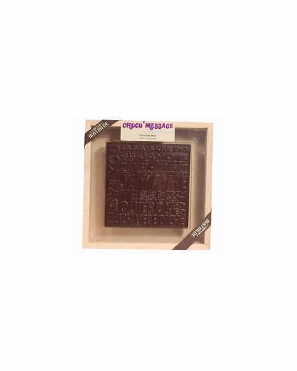 """Coffret Plaque de Chocolat noir """"Merci"""" 200g"""