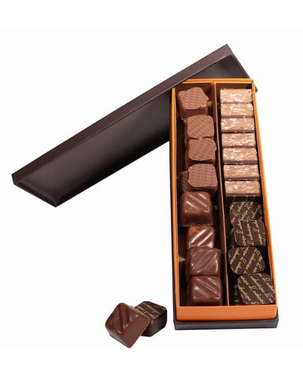 Etui plumier marron et orange de chocolats fins 165g