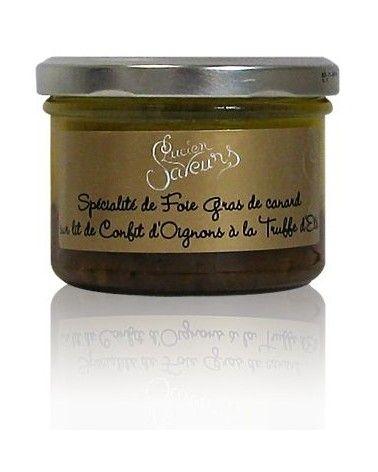 Spécialité de foie gras de canard sur lit de confit d'oignons à la truffe d'été 70g