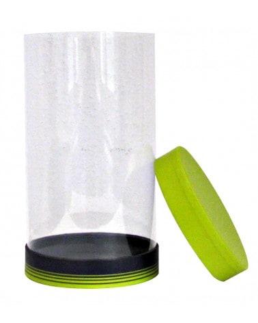 Boîte cylindrique verte et grise