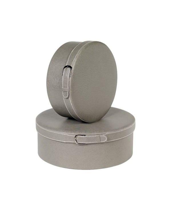 Boîte ronde avec boucle simili cuir gris petit modèle