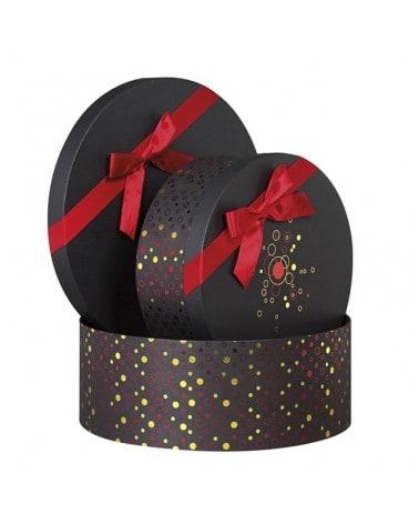Boîte ronde noire bonnes fêtes avec noeud rouge petit modèle